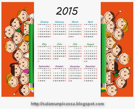 Kids Pencil Calendar 2015 Vector
