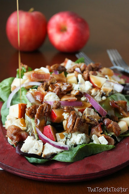 Fall Apple Chicken Salad with Garlic Dijon Vinaigrette #mysterydish | www.the-taste-tester.com