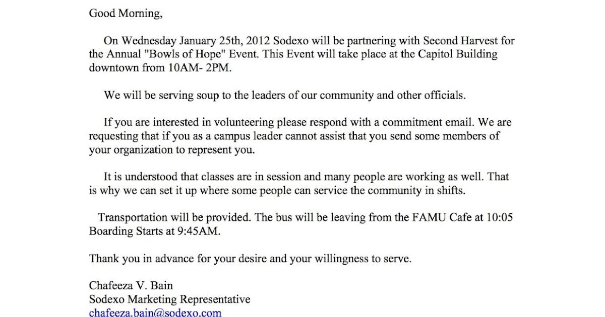 Sample Letter Requesting Volunteers