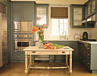 Pale Green Grey Kitchen Cabinets