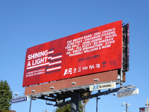 Shining a Light race progress concert billboard