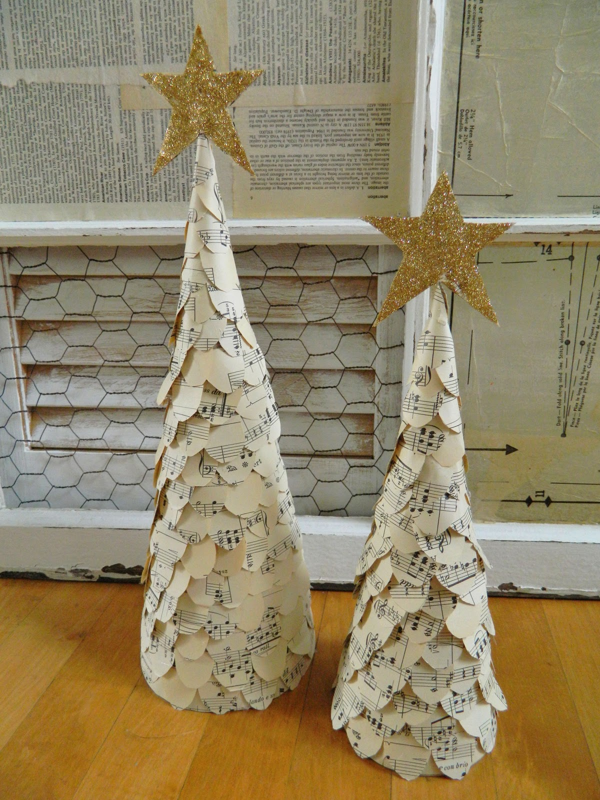 Sheet music christmas ornaments - These Are My Two Sheet Music Christmas Trees Not Too Hard To Make I Bought Some Cardboard Cones From Michael S Covered Them With Some Of My Vintage