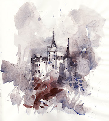 Bran Castle, Romania, aquarelle, watercolor