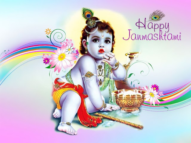 Happy Krishna Janmashtami With little krishna wallpaper