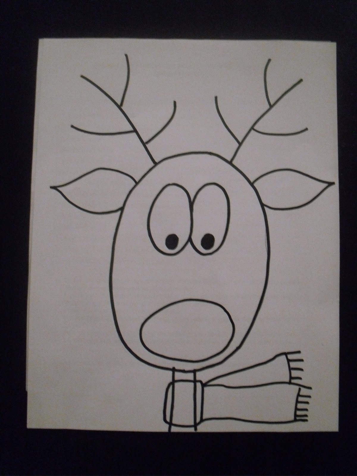 Add dots for the eyes and finish the antlers.