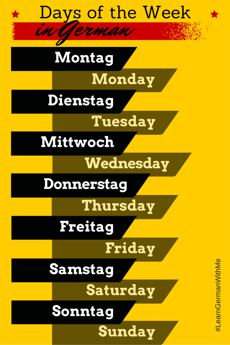 Learn German With Me: The Days of the Week in German