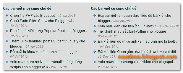 Bài viết liên quan mới nhất - cũ hơn cùng label - chủ đề cho blogspot