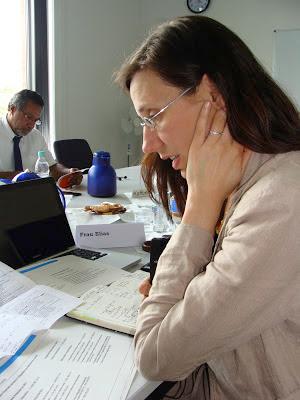 Minister Georges Mandaoué blättert am anderen Ende des Tisches in einem Dokument, die Dolmetscherin spricht ins Mikrophon und hat viel Arbeitsmaterial um sich herum ausgebreitet