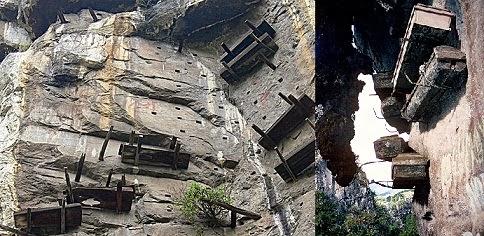 Peti mayat terbuka yang digantung di tebing di Cina