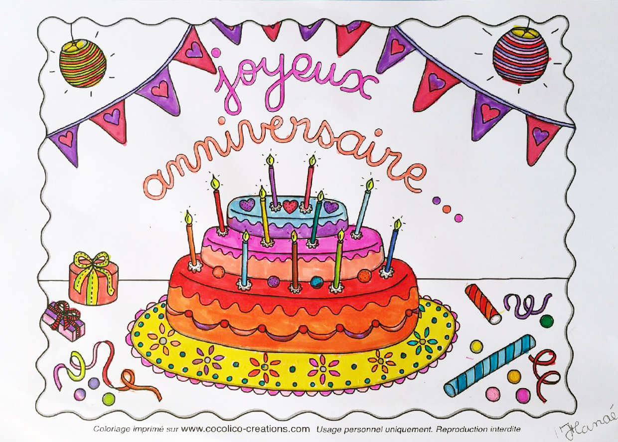 Coloriage gateau anniversaire 16 ans home baking for you - Dessin anniversaire 7 ans ...