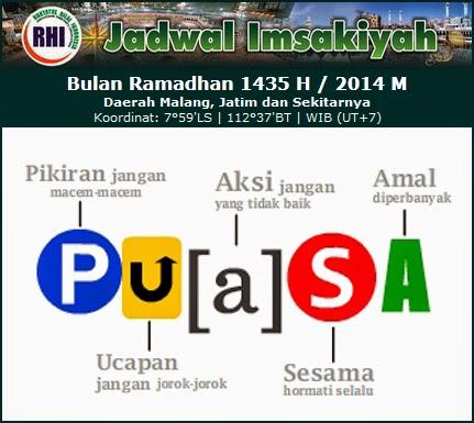 Jadwal Imsakiyah Ramadhan 1435 H / 2014 M