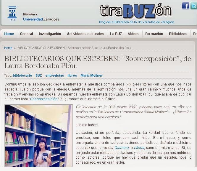 http://blog.biblioteca.unizar.es/biblioteca-universidad-zaragoza/bibliotecarios-que-escriben-%E2%80%9Csobreexposicion%E2%80%9D-de-laura-bordonaba-plou/