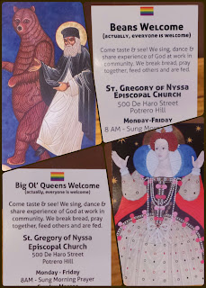 A montage of the front and back of two of St Gregory of Nyssa's business cards