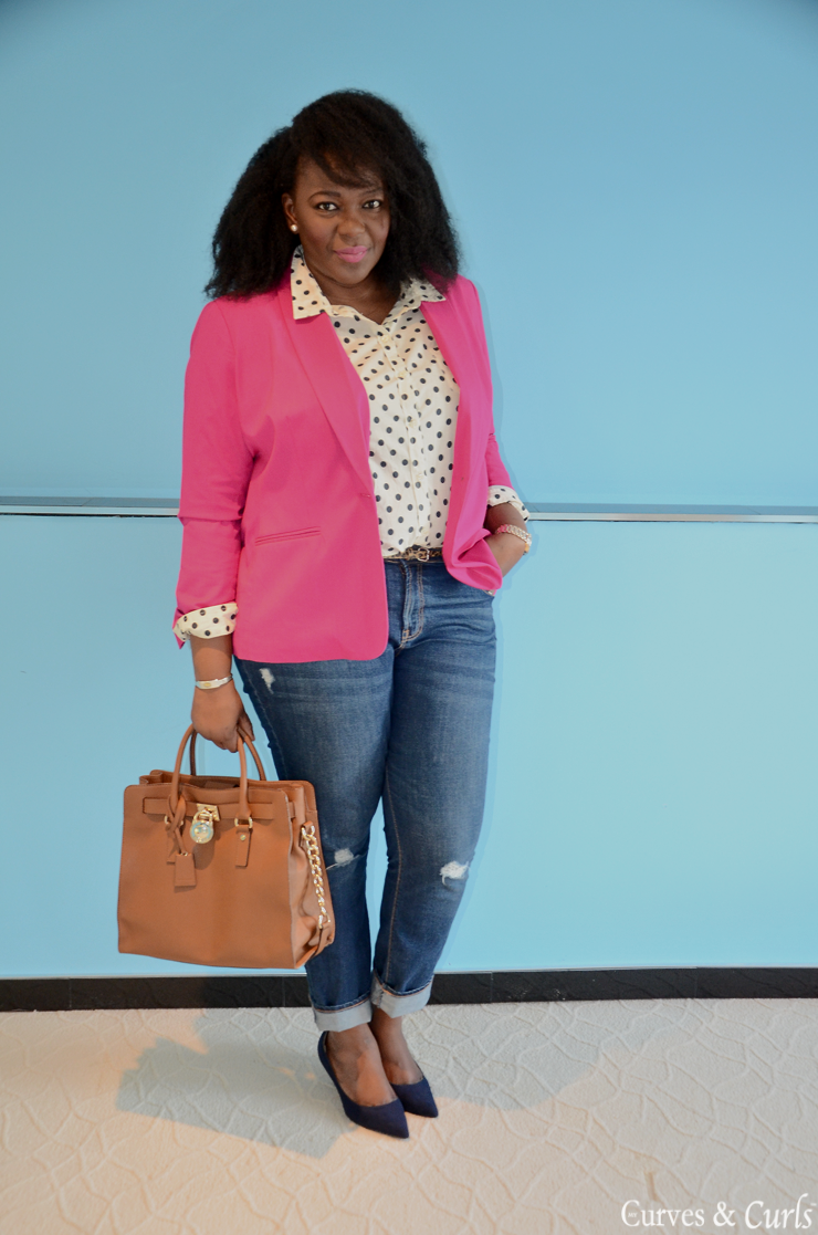 5 ways to wear a polka dot blouse #closetremix #plussize #curves #mycurvesandcurls