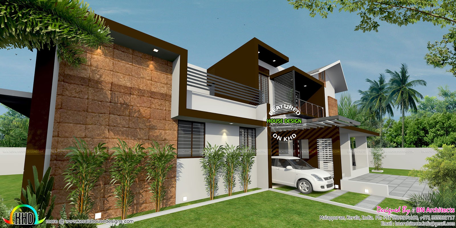 floor plan and elevation by bn architects kerala home design and floor plans