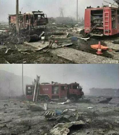 (上图)天津爆炸事故中被摧毁的消防车