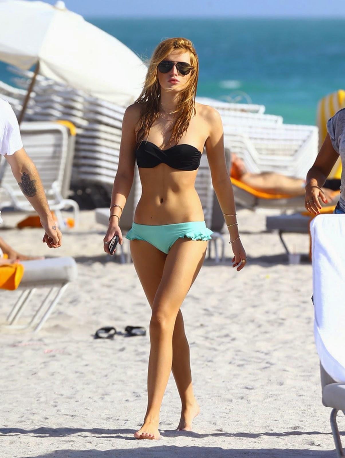Bella Thorne flaunts bikini body in a strapless bikini at Miami beach