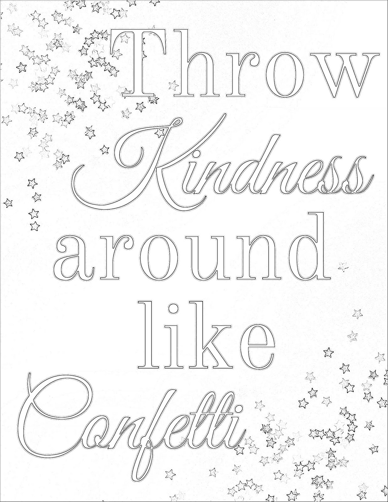 Coloring pages kindness - Throw Kindness Around Like Confetti Coloring Page