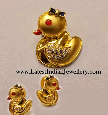 Gold Pendant Set Kids Jewellery
