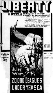 Recorte de periódico con el film de Stuart Paton: 20.000 leguas de viaje submarino