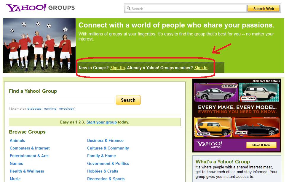 Groups yahoo
