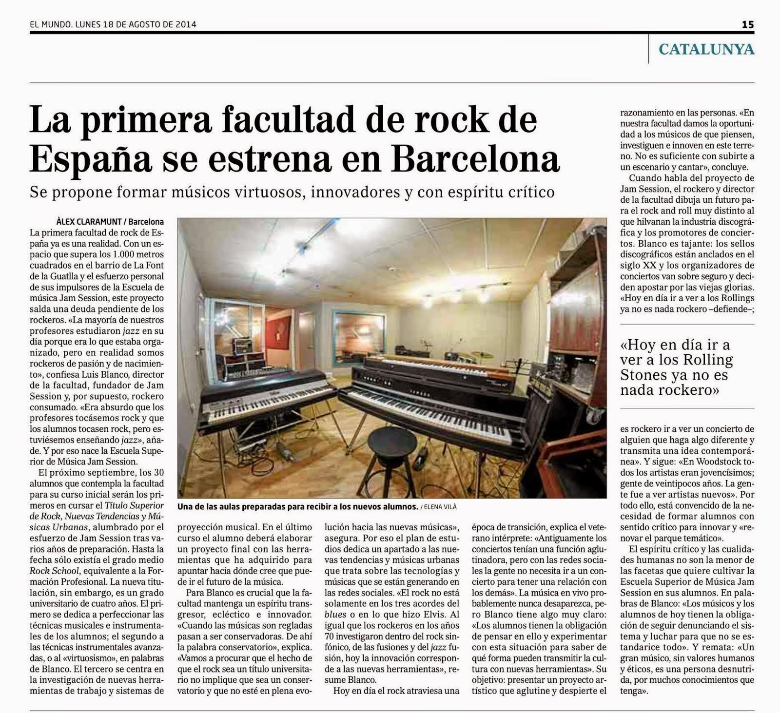 PRIMERA FACULTAD DE ROCK Y NUEVAS TENDENCIAS
