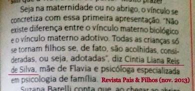 Cintia Liana na Revista Pais & Filhos