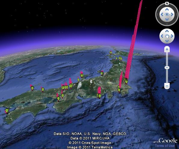 Google Earth Maps Of Japan Radiation Invisible Citizen - Real time maps google earth
