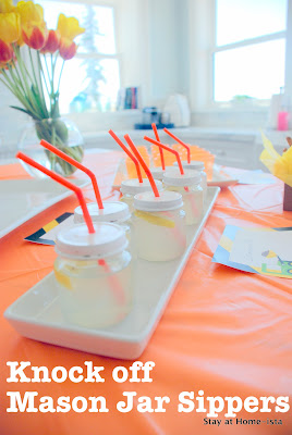 DIY knockoff mason jar sippers for a party