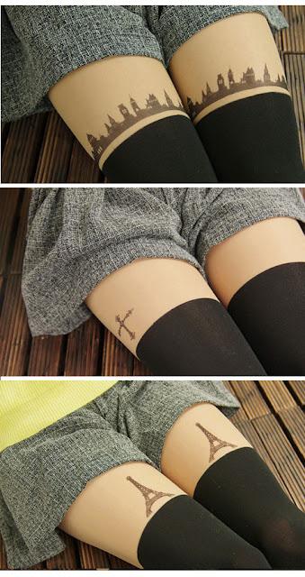 pizza-kei cute pizza kei cute fake thigh high tights trend fashion spring cute japanese japan kawaii 2013 tattoo tights printed tights city cityscape skyline cross paris eiffel tower