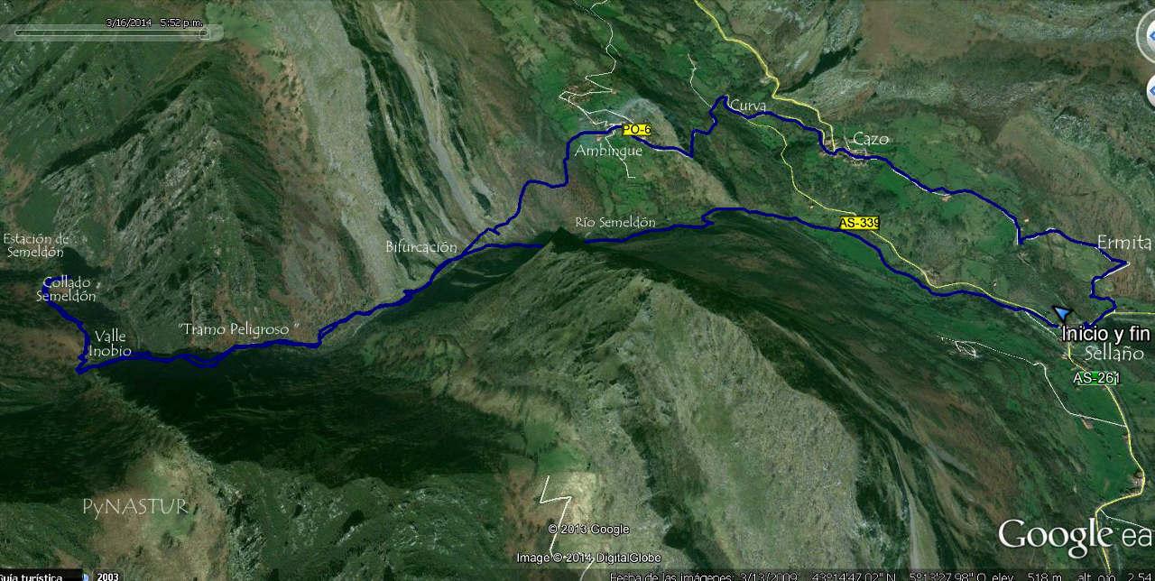 Mapa 1 - ortográfico de la ruta de Sellaño a Semeldón