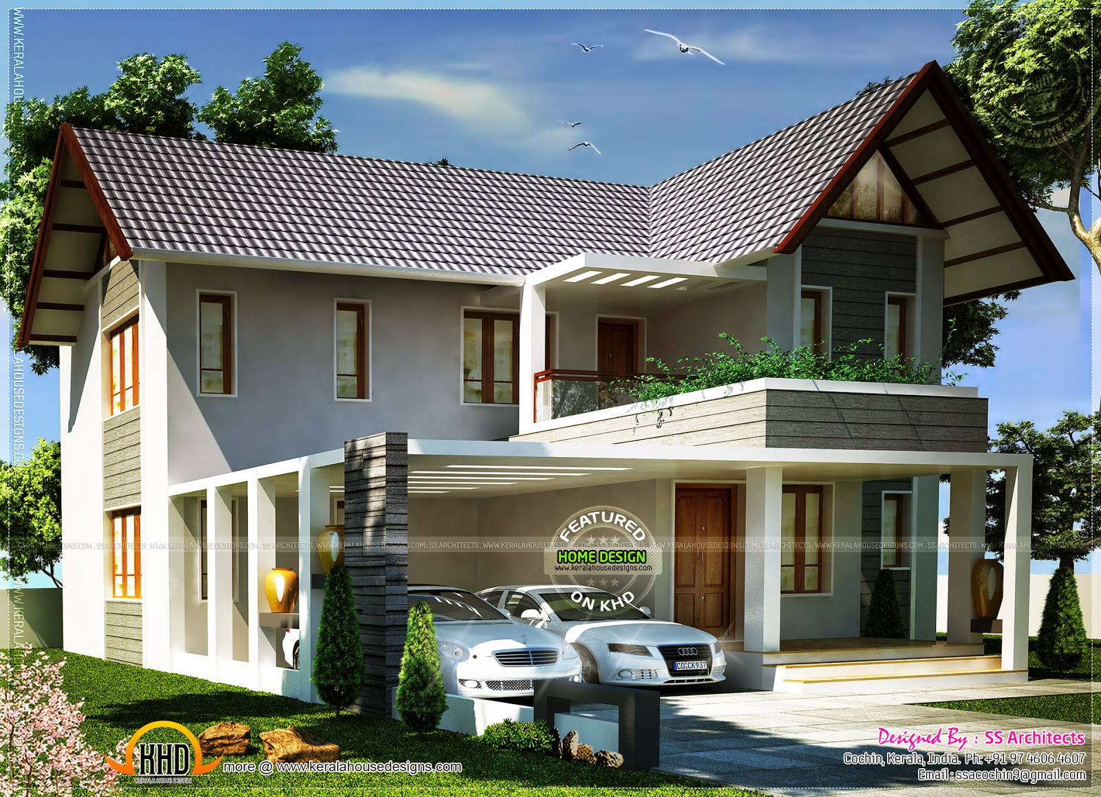 1800 square feet european model home kerala home design for European style house plans