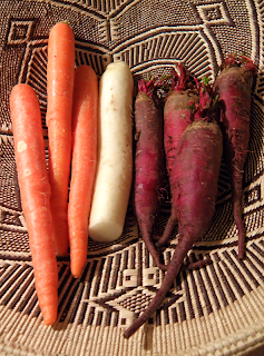 Basket of Carrots, Daikon Radish, and Beets