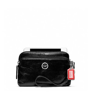 Ready Stock Coach Poppy Leather Double Zip Wristlet #49053 Black