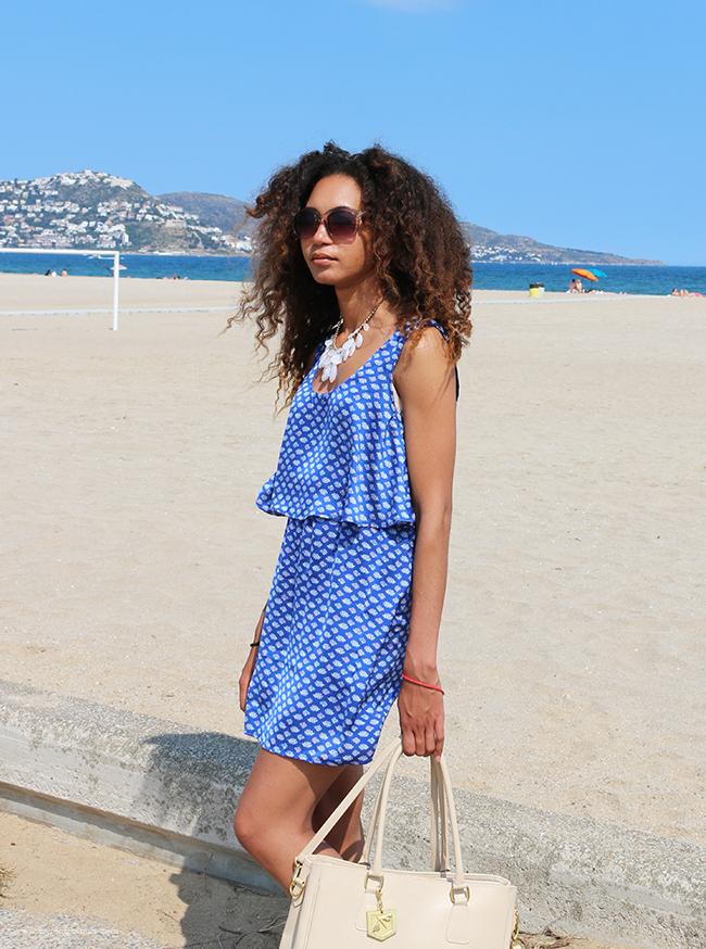 Blue print dress ootd