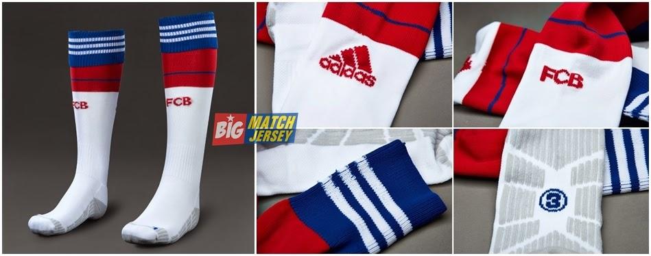 Kaos Kaki Jersey Grade Ori Bayern Munich Home 2015 Merah Biru Putih