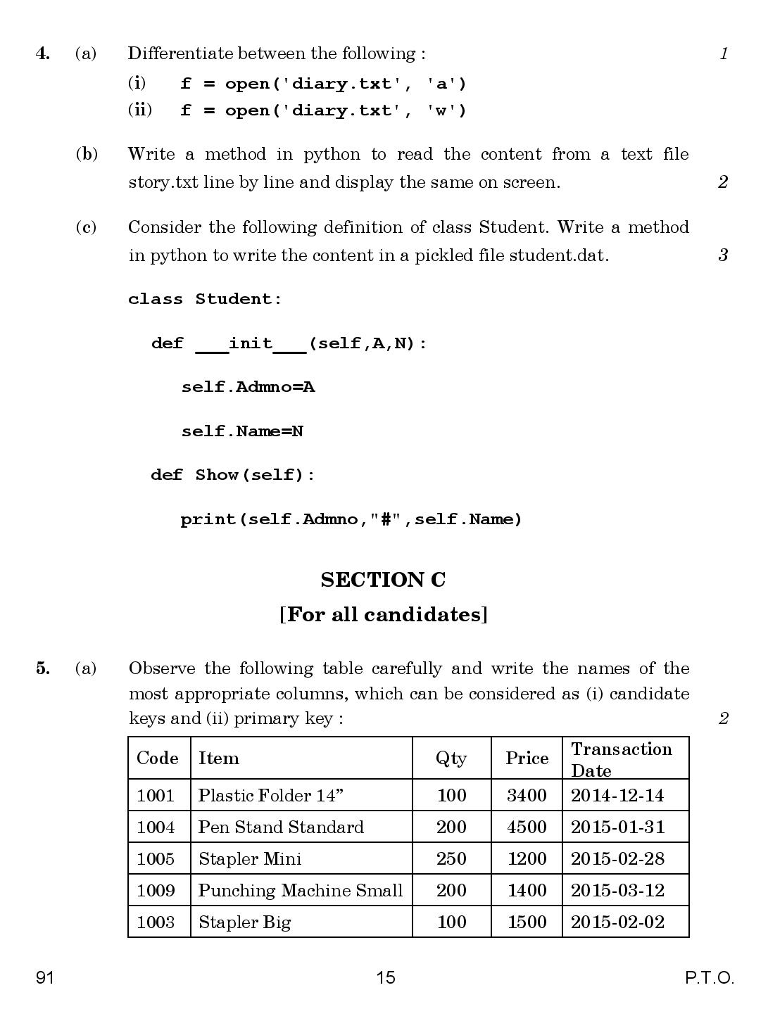 cbse class 12th 2015 Computer Science question paper