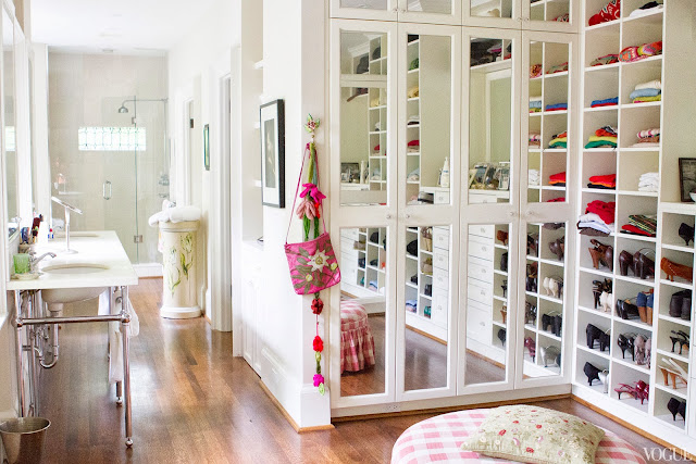 Master bath and mirrored walk in closet in Vogue.com contributor Sophie Young's childhood home