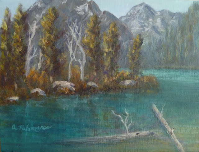 Painting of a river and mountains