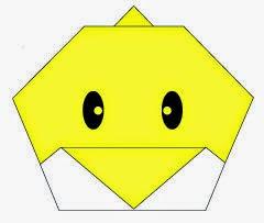 Bước 10: Vẽ mắt để hoàn thành cách gấp mặt con gà con bằng giấy origami.