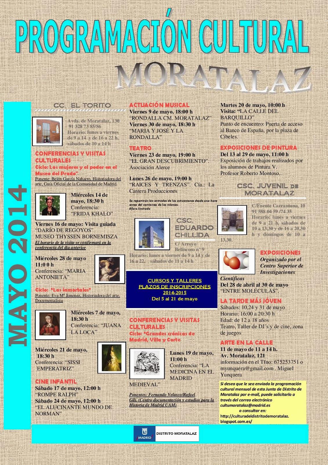 Programación cultural del Distrito de Moratalaz.