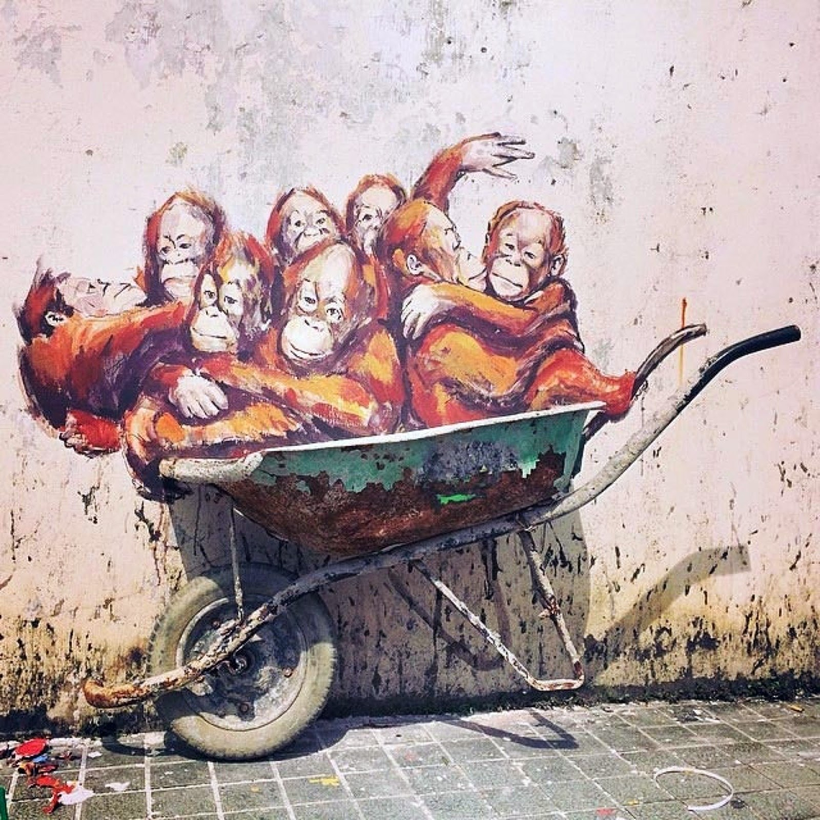 Ernest zacharevic new pieces kuching malaysia for Mural 1 malaysia