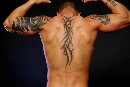 Upper Back Tribal Tattoo Designs for Men
