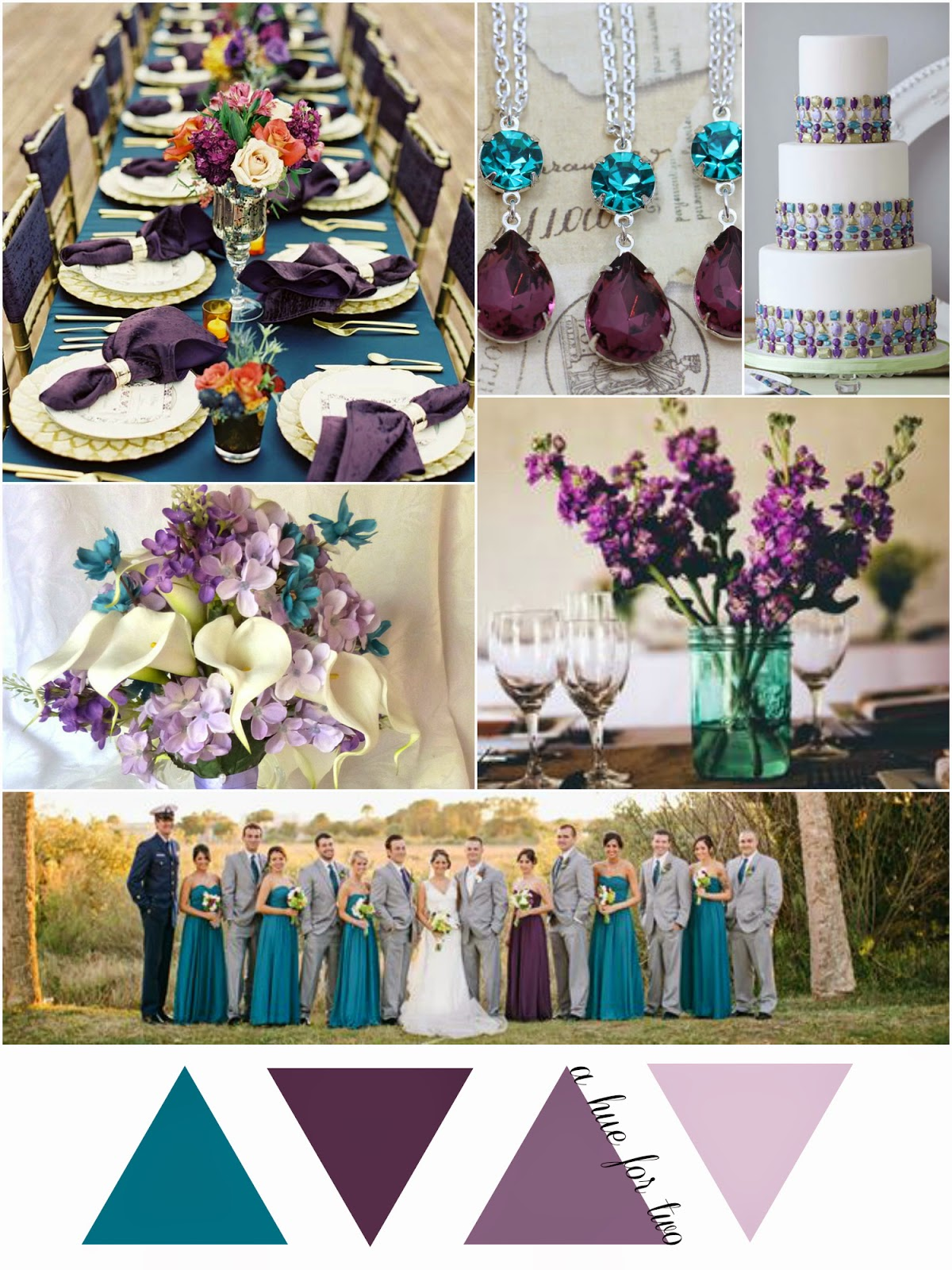 Teal, Eggplant and Lavender Early Fall Wedding   A Hue For Two