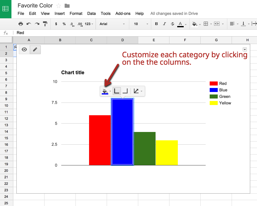 how to create a bar graph in google spreadsheet