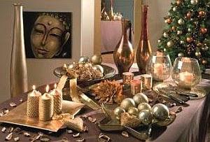 Mesa, Decoración Navideña, Dorado