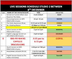LIVE Session Schedule