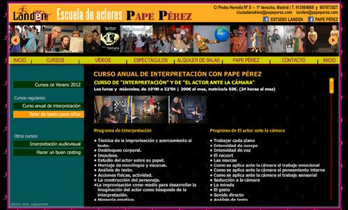 página web de la escuela de actores Landén, dirigida por el actor y director Pape Pérez: Cursos y talleres de interpretación actoral para teatro, cine y televisión