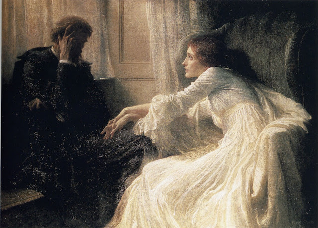 frank dicksee painting,victorian painter,ghost story