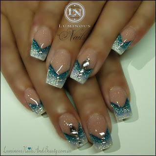 Glitter sky blue white nails with reverse v